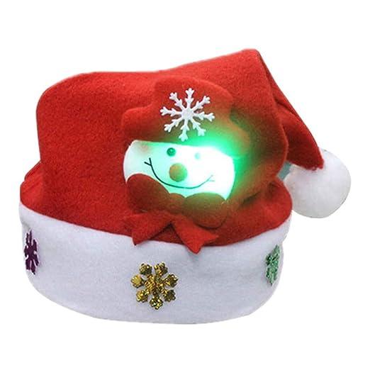 cab155cb47143 Amazon.com  ForHe Santa Hats - Christmas Novelty Hats - Blinking Santa Hat  - LED Blinking Lights Holiday Hats for Child  Clothing