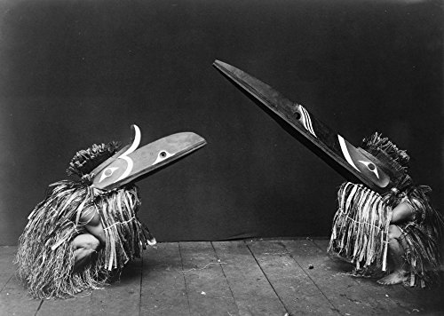 Kwakiutl Dancers C1914 Ntwo Kwakiutl Dancers In Ceremonial Costumes And Masks With Long Beaks Photograph By Edward Curtis C1914 Poster Print by (18 x 24)