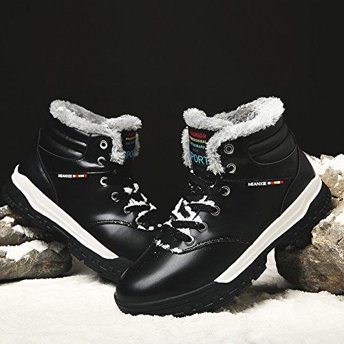 Gomnear Männer Schnee Stiefel Wanderschuhe Leicht Winter Schnüren Anti-Rutsch Mit vollkommenem Pelz Warm Sneaker Blue-47 fQDOV