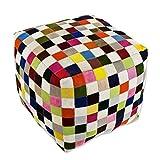 NOVICA Bohemian Leather Ottoman Covers , Multicolor, 'Carnaval Chess Cube'