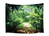 JAWO Rainforest Tapestry, Lush Palm Trees Plants in Tropical Jungle Wild Nature Green Tapestry Wall Hanging, Wall Tapestry for Dorm Living Room Bedroom, Wall Blanket Wall Decor Wall Art Home Decor