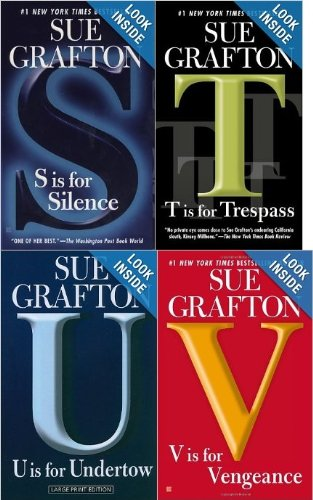 Sue Grafton Kinsey Millhone Book Set: S, T, U and V (S is for Silence, T is for Trespass, U is for Undertow, V is for Vengance)