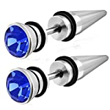 Stainless Steel Look-Alike Taper Ear Expander with Blue CZ Body Jewelry Earrings - 16 Gauge