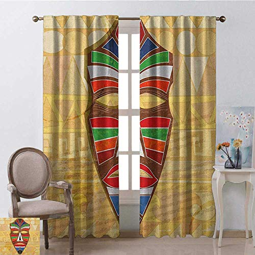 youpinnong Tiki Bar, Curtains Insulated, Colorful Vivid Ethnic Mask on Vintage Style Backdrop Geometric Tribal Primitive, Curtains Kids Room, W72 x L96 Inch, Multicolor
