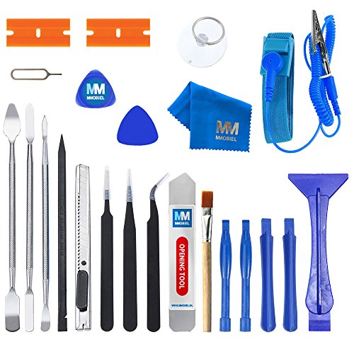 Razor Cell Phone Battery - MMOBIEL 23 in 1 Professional Premium Repair Opening Tool Kit set Inkl. Anti Static Wrist Strap for Smartphones, Computers, Electronic Device and other Multimedia Notebooks repair