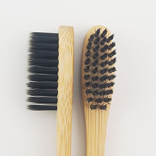 Genkent Natural Bamboo Toothbrush Made with Bamboo Charcoal Infused Bristles (12 counts, Black)