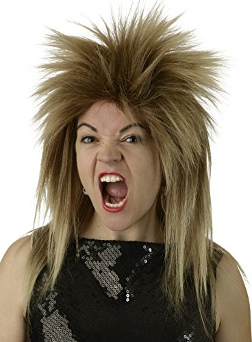 [Tina Turner 80's Rock Star Wig Mixed Brown Blonde Costume Wig] (Tina Turner Wigs)