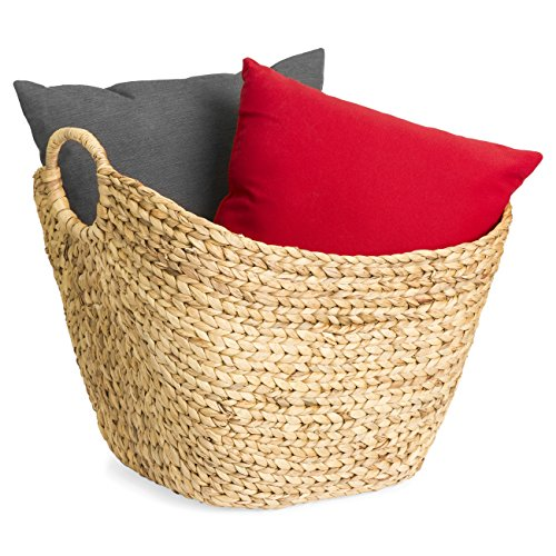 Best Choice Products Portable Large Hand Woven Seagrass Wicker Braided Storage Laundry Blanket Toys Basket Organizer for Home w/Handles, Strong Steel Frame, Natural