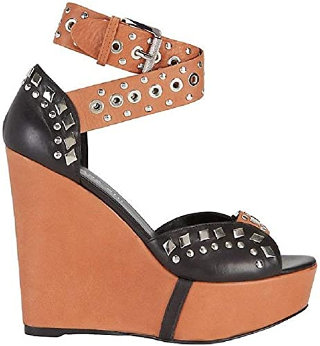 Barbara Bui Tan Black Wedge Sandals 37