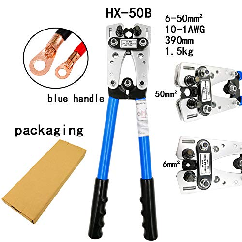 Hx-50B Cable Crimpercable Lug Crimping Tool Wire Crimper Hand Ratchet Terminal Crimp Pliers for 6-50Mm2 1-10Awg Wire Cable HX-50B Blue
