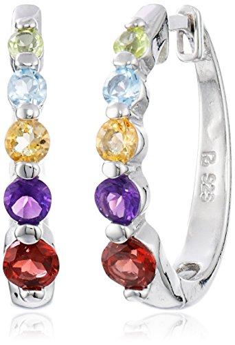 """Platinum-Plated Sterling Silver Multi-Gemstone Hoop Earrings (0.7"""" Diameter)"""