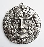 Green Man Pagan Gothic Discreet-Sized Pewter Wall Plaque