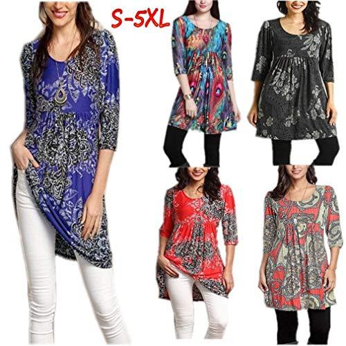 Robe Violet 3 Chemises 4 Hibote Blouses Lady Doux Loose Tunique Femmes Confortable Casual Manches Blouse Fit Shirt Printed Tshirt Femmes Floral R1qR8A