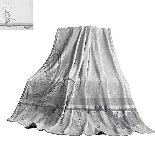 Dot Border Swirl (Grey,Fleece Blanket Ornament Border with Artistic Swirls Dots in Rococo Style Renaissance Details Plush Microfiber Blanket 70