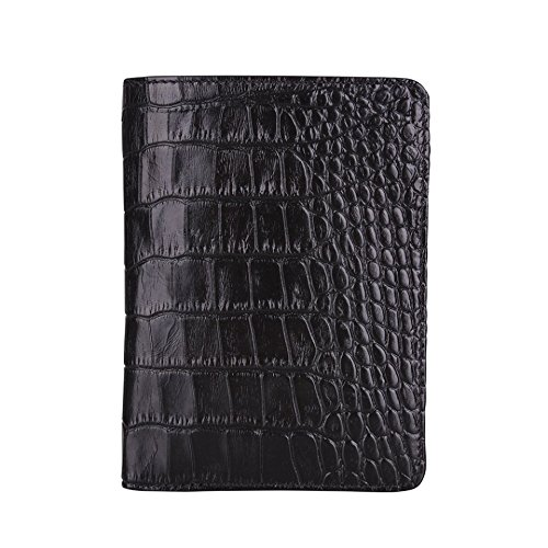 Police Badge Wallet, All Leather, Fits Any Shape Badge with Pin Back- Black Croc