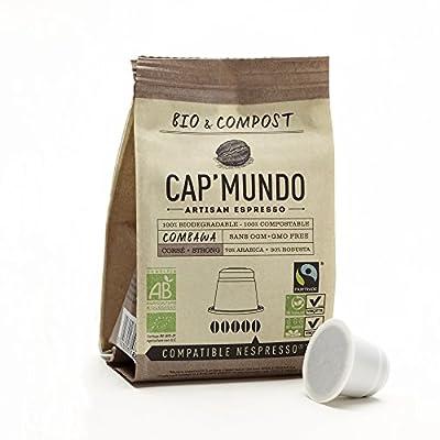 Fair Trade Nespresso Compatible Coffee Capsules (Dark Roast) - Cap'Mundo Paris - Certified Organic and Compostable - French Artisanal Espresso (Combawa, 50 Pods for OriginalLine Machines)