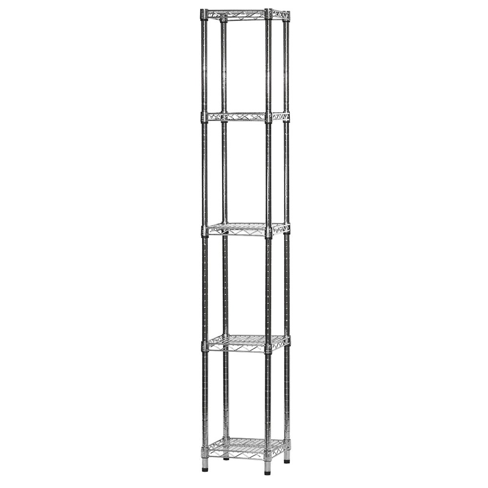 12'' d x 12'' w x 72'' h Chrome Wire Shelving with 5 Shelves