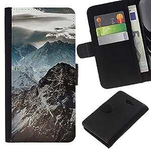 LECELL--Cuero de la tarjeta la carpeta del tirón Smartphone Slots Protección Holder For Sony Xperia M2 -- Oscuras Montañas Rocosas --