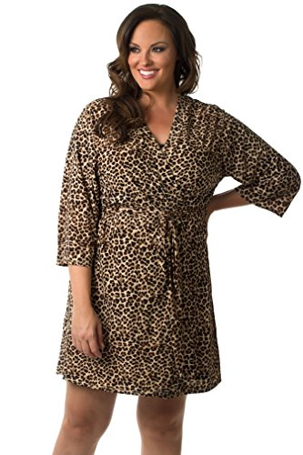 Velvet Kitten Plus Size Robe and Chemise Set 504347X 1X Leopard