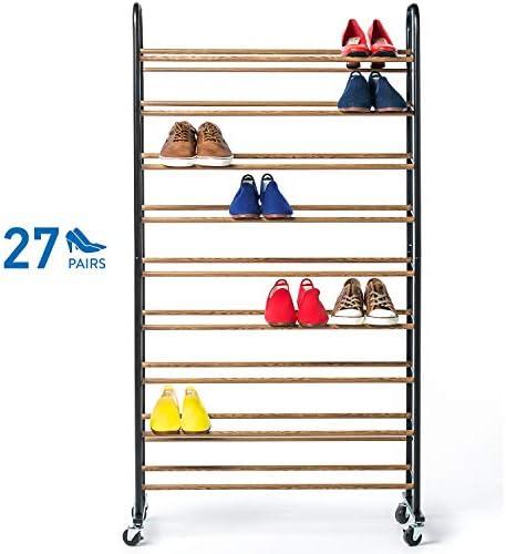 Tatkraft Ellen 9 Tier Metal Shoe Rack, Heavy-Duty Locking Wheels, Up to 27 Pairs, Black & Wood Finish