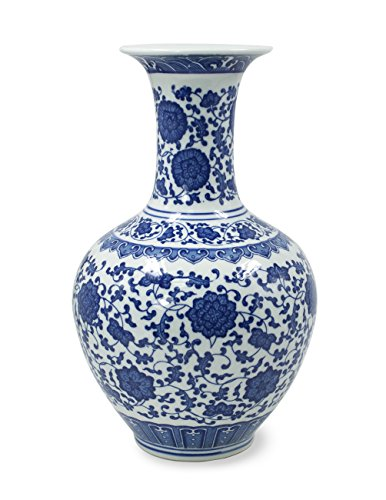 Dahlia Ancient Lotus Motif Blue and White Porcelain Flower Vase, 13 Inches, Chinese Bottle Vase -
