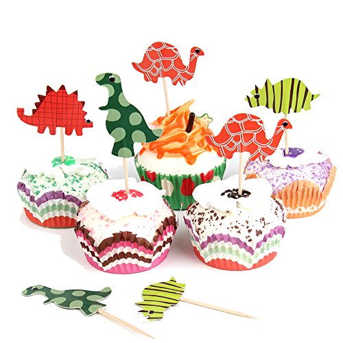 Cute Halloween Comments (Skylove 48pcs cute Dinosaur Cupcake Toppers for Arts & Crafts Picnic Wedding Baby Shower Birthday Party Server)