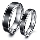 Mens Womens Titanium Couple Ring Silver Black Valentine Promise Wedding Band Ring 6mm/4mm