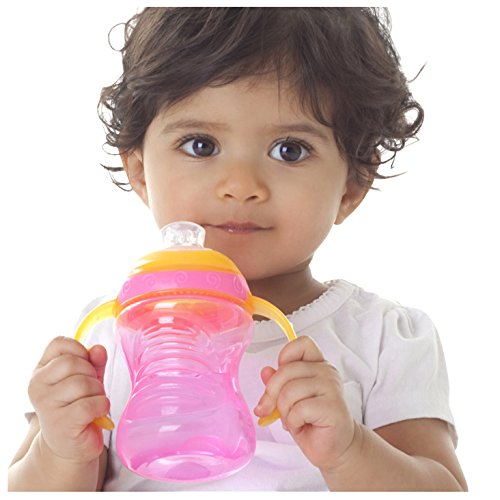 (Nuby 2-Pack Two-Handle No-Spill Super Spout Grip N' Sip Cup, 8 Ounce, Colors May Vary)