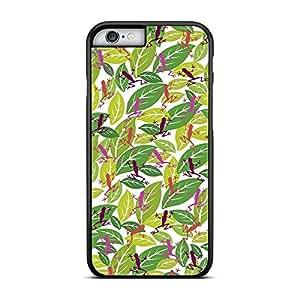 Funda carcasa para Apple iPhone 6 6S Plus estampado hojas con ranas rosa borde negro