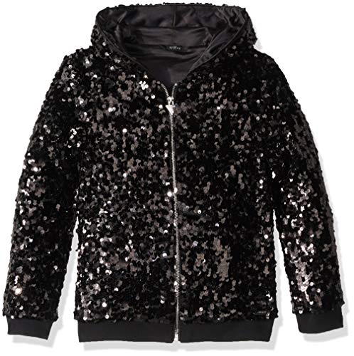 GUESS Girls' Big Long Sleeve Zip Up Sequin Hoodie, Jet Black a a, 16 (Guess Zip Up Jacket)