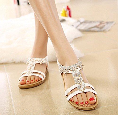 Aisun Women's Boho T Strap Open Toe Flat Beach Sandals With Rhinestones White POgO7