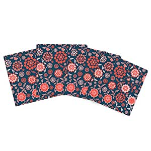 """Kess InHouse Nicole Ketchum """"Cherry Floral Midnight"""" Outdoor Place Mat, 15 by 15-Inch, Set of 4"""