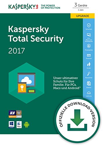 Kaspersky Total Security Multi-Device 2017 für bis zu 3 Geräte Upgrade [Download]