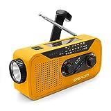 Emergency Weather AM/FM NOAA Solar Crank Radio with Bright Flashlight, 2000mAh Power Bank, Headphone Jack for Hazard Weather and Outdoor Activitives (Orange)