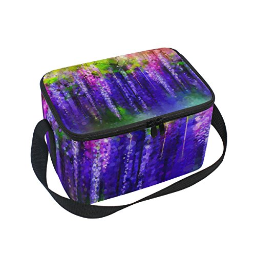 Dragon Sword Abstract Violet Red And Yellow Flowers Watercolor Insulated Lunch Bag Lunch Box Cooler Tote Bag for Men Women Kids