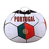 YHOUSE Soccer Bean Bag Storage for Kid's Stuffed Animals - 2018 World Cup 32 Nations Flag Style Push Toy Organizer for Child Bedroom, Storage Solution for Clothes, Towels and Yarn (PORTUGAL, 26'')