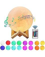 Maanlamp met Bluetooth Luidspreker, Gemmac 16 Kleuren 3D-Maanlicht 15 cm Maan Lamp Nachtlampje USB Opladen LED Licht Stemmingslicht met Afstandsbediening voor Slaapkamer Cafe Bar Eetkamer