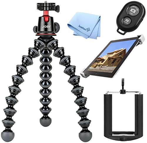 JOBY GorillaPod 5K Kit. Professional Tripod 5K Stand Kit for DSLR Cameras, Mirrorless Cameras, iPads, and Smartphones with Selfie Remote