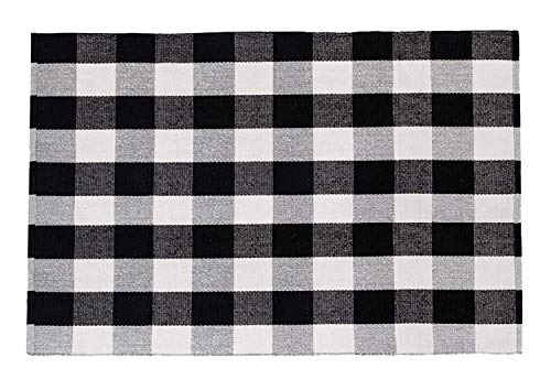 SHACOS Large Cotton Area Rug 4×6 ft Black White Plaid Cotton Woven Rug for Living Room Bedroom Doorway 4 x6 , Black White