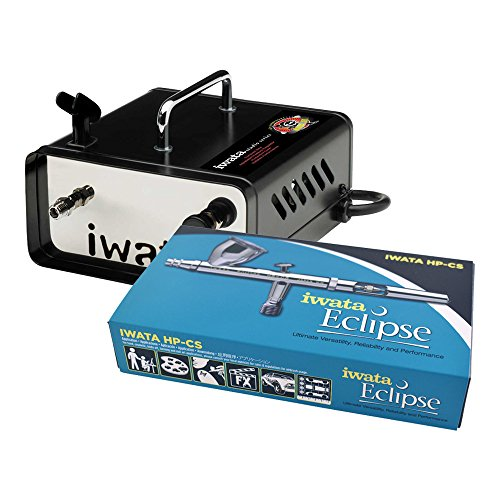 (Iwata Eclipse (ECL 4500) HP-CS Large Gravity Feed .35mm Airbrush with IS-35 Ninja Jet Studio Series Compressor )