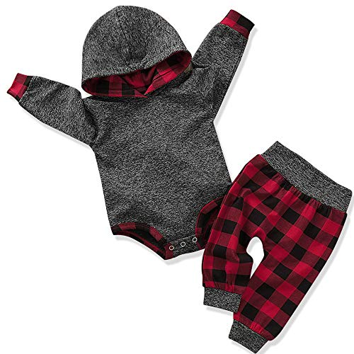 Newborn Baby Boy Clothes New to The Crew Letter Print Hoodies + Long Pants 2PCS Outfits Set 6-9 Months Grey