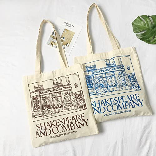 Easy Clean Female Shakespeare and Company Letter Canvas Shoulder Bag Simple File Shopping Girl Handbag Blue
