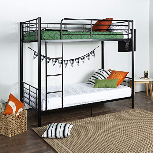 - Walker Edison Twin-Over-Twin Metal Bunk Bed, Black