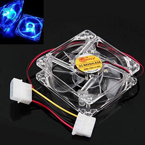 Gotian Blue Quad 4-LED Light Neon Clear 80mm PC Computer Case Cooling Fan Mod-2.52W