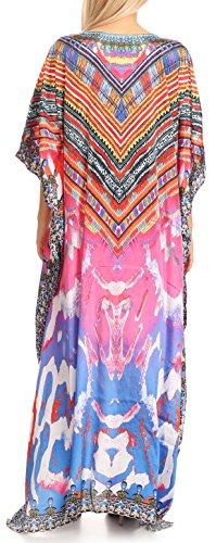 copertura Collo V rosa Su Strass Arancio Con Design 17176 Caftan Anahi Sakkas Flowy Vestito In Lungo xpqII8