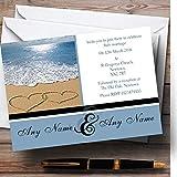 Love Heart Sand Beach Sea Personalized Wedding Invitations