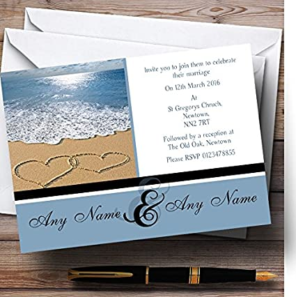 Personalized Wedding Invitations.Love Heart Sand Beach Sea Personalized Wedding Invitations