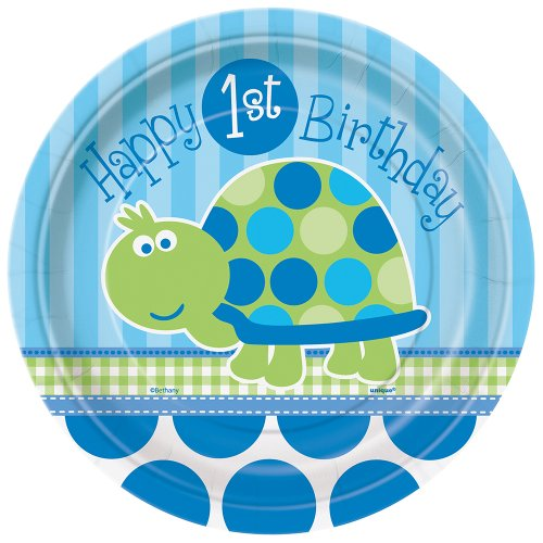 Turtle 1st Birthday Dessert Plates, (Halloween Mask Making Paper Plates)