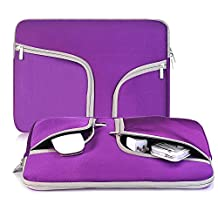egiant 14-15.4 Inch Laptop Chromebook Case Sleeve ,Waterproof Neoprene Zipper Briefcase Carrying Cases Bag for Laptops Notebook Computers Macbook Pro 15 (PURPLE)