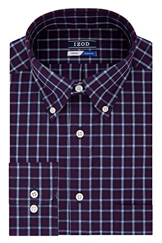 IZOD Men's Dress Shirts Regular Fit Stretch Check, red/Multi, 18